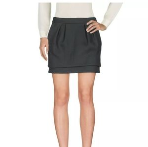 Maje Pleated Structured layer twill wool min skirt